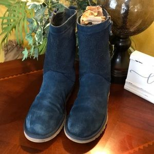 UGG Midnight Blue LoPro Zip Up Perforated Boots